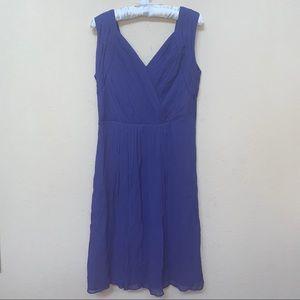Blue Purple Silk Pleated Sleeveless Dress NWT Sz 6